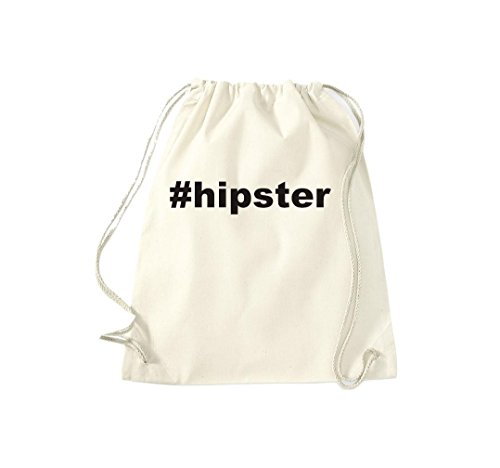 Turnbeutel #HIPSTER Hashtag Gymsack Kultsack Natur