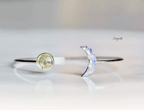 Platinierter Armreif mit Mond aus Opalite und Pusteblumen