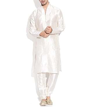 TwoPeople India Cream Banarsi Dupioni Silk Kurta and Churidar Pajama Set (TPMDK085-38, Size: 38 (M)- Regular Fit)