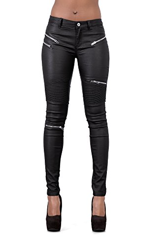 Crazy Lover Damen Kunstleder Leder Look Hosen Damen Biker Stretch Coated Jeans (34, Schwarz) - Denim-look Leder