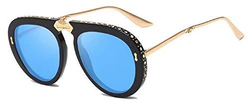 MoHHoM Sonnenbrille Strass Pilot Klappbare Sonnenbrille'S Fashion Frauen Gläser Luxusmarke Designer Schattierungen Retro Sexy Großen Sonnenbrille Hell Schwarz Blau