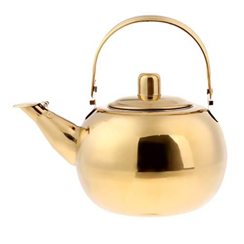 Betrothales Edelstahl Wasserkocher Teekanne Kaffeekanne Silber Chic Gold Casual Gold 2L Teekanne Bequem Wärmer Vintage Orientalisch Design Style (Color : Gold, Size : 2.5L)