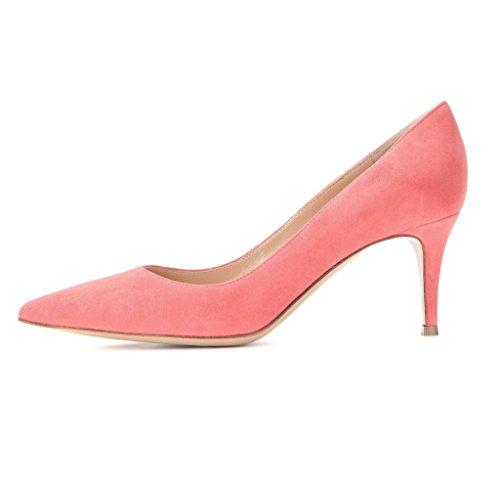 EDEFS Damen Mittlerer Hohe Absatz Pumps Klassisch Kitten Heels Schuhe Peach Größe EU38