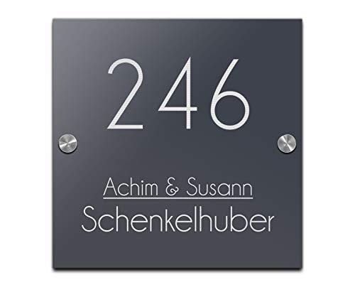Edles Türschild | 20x20 cm Hausnummer mit Gravur mit über 80 Motiven Familien-Haus Familienschild Türschilder für die Haustür mit Namen