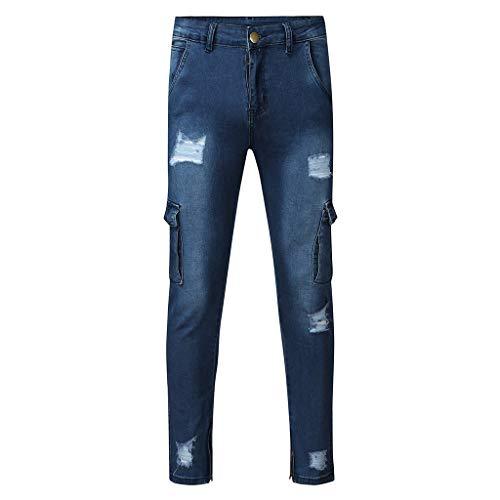 Dwevkeful Herren Destroyed Jeans, Slim Fit Skinny Stretch Denim Pencil Pants Casual Stylischer Jogger Hosen Lang Trousers Elastische Sporthose Regular