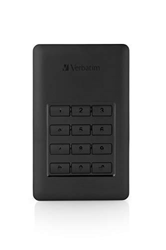 Verbatim Store \'n\' Go Secure 2 TB (2000 GB), USB 3.1 Typ-C, Externe Festplatte mit Passwortschutz durch Tastenfeld, Stromversorgung durch USB, 53403