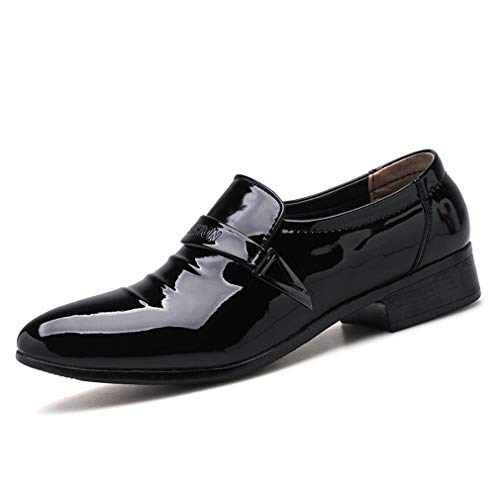 Yan scarpe eleganti da uomo mocassini eleganti in pelle lucidi mocassini eleganti a maniche corte e maglie da sera scarpe eleganti da festa e da sera (colore : nero, dimensione : 45)