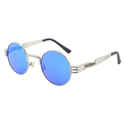 CGID E72 Lunettes de soleil polarisées inspirées du style retro Steampunk en cercle métallique rond pour hommes C Argenté Bleu