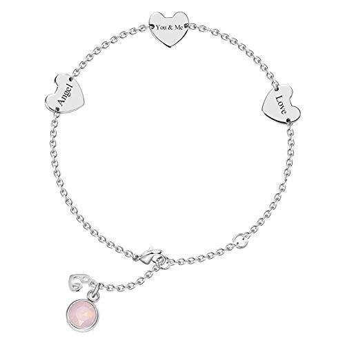 rt Damen Armband mit 3*gravierbares Herz Anhänger & 12 Monate Geburtsstein optional intimes Geschenk für Frau, Freundin, Tochter ()