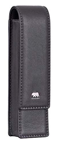 Brown Bear Schreibgeräte-Etui Leder Grau für 2 Stifte hochwertig mit Magnet-Verschluss
