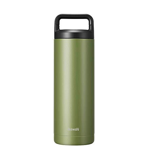 Brewsly Bottiglia Termica, Termos Caffe in Acciaio Inossidabile Isolamento Sottovuoto a Doppia Parete, Processo di Verniciatura a Polvere, 500ML, Verde
