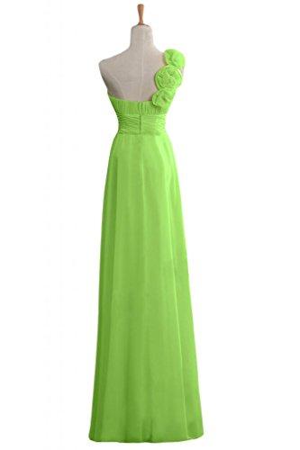 Sunvary Sweety Chiffon Una spalla A-line, realizzato A mano, motivo: damigella d'onore, motivo vestiti Green