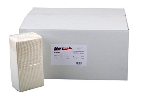 Papier-handtücher Schule (Semy Papierhandtuch, 2 -lagig C-Falz, 23 x 31 cm, hochweiss, 2430 Blatt, 1er Pack (1 x 1 Stück))