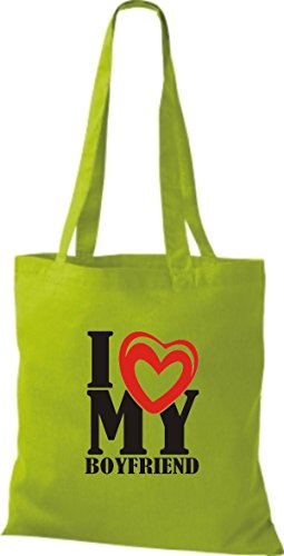ShirtInStyle Shopper Valentinstag I Love My Boyfriend limegreen