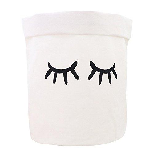 NINGSANJIN Leinen Wäschekorb Groß Wäschebox aus Baumwolle Stoff Wäschesack Bad Spielzeugkorb für Kinderzimmer Organizer Korb Baby Kinder Kleidung Wäschekorb - Lange Wimpern