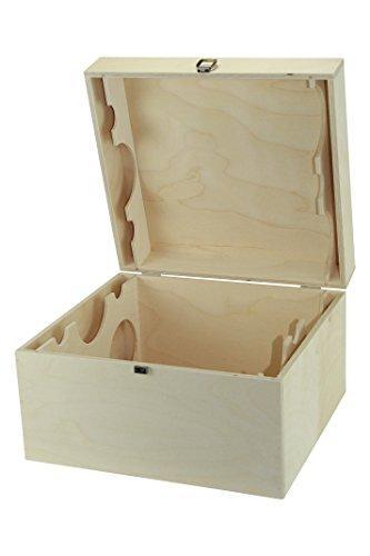 protectore Weinkiste mit Deckel und Innen Teilung (Guilliotine) für 6 Weinflaschen - Weinbox -...