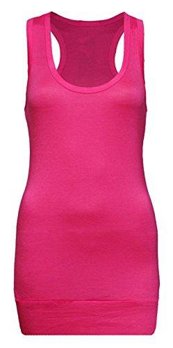 Damen Tanktop 4 kaufen 1 extra bekommen - Unterhemd - Tank Tops - Ringertop - Ringerrücken - Trägertop - Tshirt - Neon Pink (Top Tank Pink Damen Shirt)