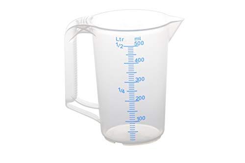 hünersdorff Messbecher (0,5L), bruchsicher,besonders temperaturbeständig,farbige Skala,Lebensmittelgeeignet,aus Polypropylen(PP),offener Griff,transparent-blau