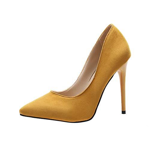 Makefortune-Schuhe Damen Spitzen Stilettos, Ultra Hochhackige Slip On Pumps Pumps Pumps Stilettos Wildleder Volltonfarbe High Heels für Party Prom Club Sexy High Heel Prom Schuhe