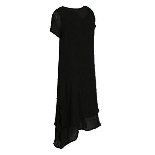 Gazechimp Damen Kurze Ärmel Kleid Baumwolle Leinen lässig Langarm Rundhals Doppel Layered Sommer Maxikleid Hemdkleid Partykleider - schwarz, XL (Stück 2 Leinen-anzug)