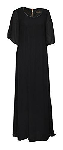Robe longue manches courtes - Taille Unique Noir