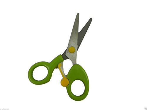 Childrens Spring Clip Easy Opening Trainer Scissors Easy Grip Handles Metal Ruler Blades 12cm (Single Pair Green)