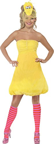 Kostüm Sesam - Smiffys, Damen Bibo Kostüm, Kleid, Haarreif und Strümpfe, Sesamstraße, Größe: XS, 38677