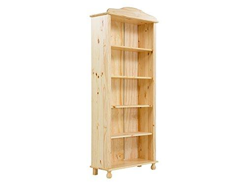 Massivum Varina Bücherregal 5Fächer Kiefer Lackiert, Holz, Natur, 30 x 77 x 180 cm (Bücherregal Natur)