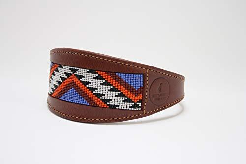 Navajo Aztec - Collare Largo in Pelle di Pecora e Morbido Scamosciato, Imbottito, per Whippet, levrieri, levrieri, levrieri Italiani