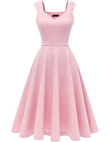 Dresstells Damen 1950er Midi Rockabilly Kleid Vintage V-Ausschnitt Cocktailkleid Faltenrock Pink 3XL (50er Jahre Pink)