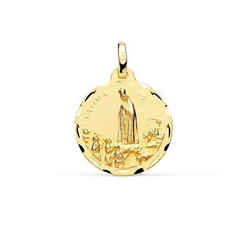 Medalla Oro 18K Virgen De Fátima 18mm. Borde Tallado - Personalizable - Grabación Incluida En El Precio