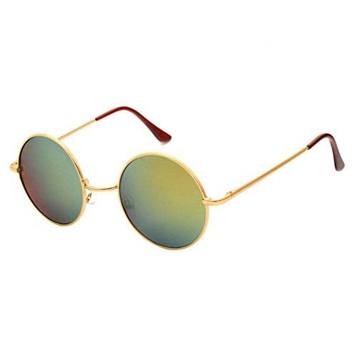 Ansenesna Männer Frauen Runde UV Sonnenbrille Vintage Spiegel Sonnenbrille Brillen Outdoor Sports Glasse (Golden)