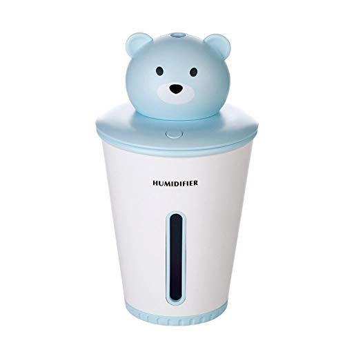 Bear USB humidifier home car mini humidification adjustable atmosphere light, blue (Blue Care Bear)