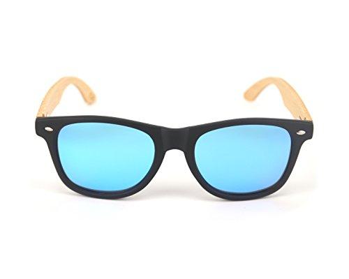 DIE ÖKO-SONNENBRILLE / Wayfarer lemiel / Polarisiert / Verspiegelt / Damen und Herren / Bügel und Etui aus Bambus / UV 400 / Holz / UMWELTFREUNDLICH (Blau verspiegelt)