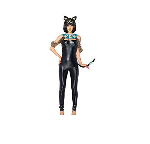 Sexy ägyptische Katzengöttin Jumpsuit Kostüm (mittel (8-10) ) (M) (Sexy Ägyptische Kostüme)