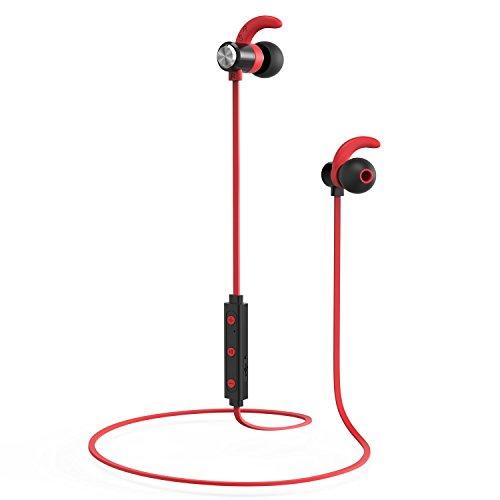 EgoIggo BD-160 Auriculares Bluetooth, auriculares inalámbricos para deportes,reducción de ruido auriculares estéreo 4.1 con conexión magnética, auriculares con microfono y anti-sudor (Rojo)
