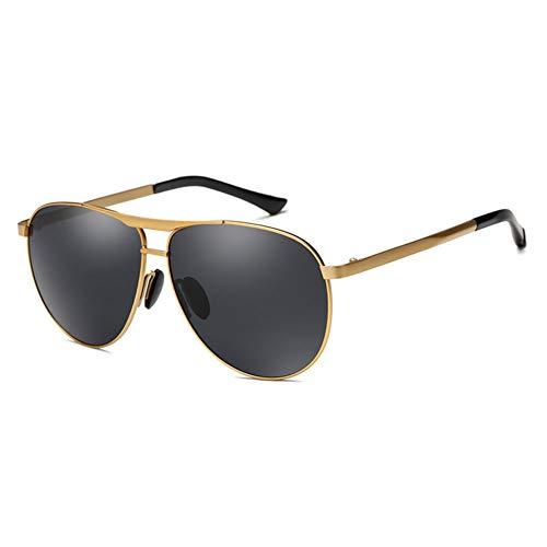 Sonnenbrille Herren Polarisierte Sonnenbrille Driving Fashion Large Frame Frosch Spiegel, Anti-UVA, Anti-UVB, Anti-UV, Drei Farben Optional. (Farbe : Gold frame)