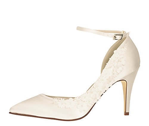 Rainbow Club Brautschuhe Fern | High Heels | Ivory Satin Blumen Applikationen | Gr 41 EU (8 UK)