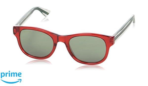 Gucci Unisex-Erwachsene Sonnenbrille GG0003S 004, Rot (Red/Silver), 52