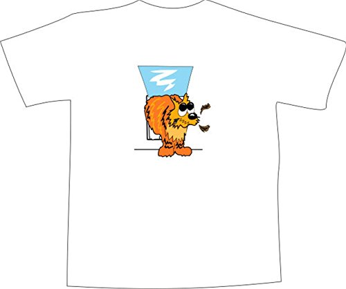 T-Shirt E675 Schönes T-Shirt mit farbigem Brustaufdruck - Logo / Grafik - Comic Design - lustige Katze vor der Tür Schwarz