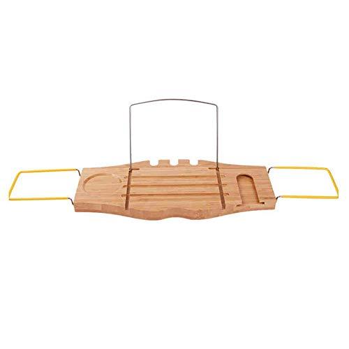 HhGold Regale Regale Badewanne Tablett mit Multifunktions, Rutschfester Griff, Weinglashalter, Bücherleseständer Holzregal, iPad Stand Spa Badewanne Tray Racks (Farbe : Bathtub Tray, Größe : -)