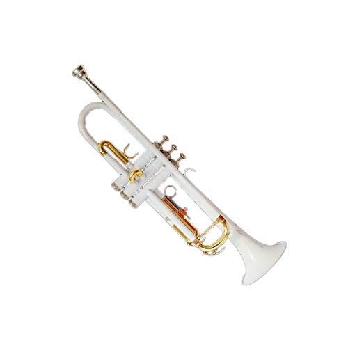 Haoyushangmao Professionelle Standard-Trompete für Einsteiger, geeignet für Anfänger- und Bandaufführungen, Key of #A (BB), Weiß lackiertes Messingmaterial, schöner Ton ( Color : White )