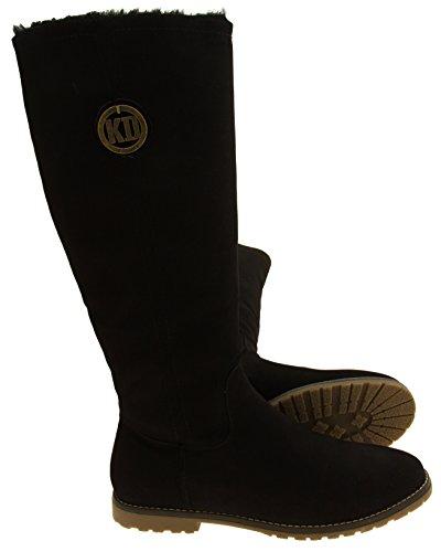Damen Keddo Faux-Veloursleder-warme Winter-Knie-hohe Stiefel Schwarz