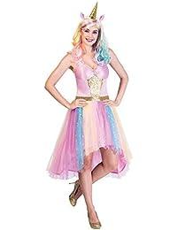 Damen Rosa Rainbow Pastell Funkelnd Magische Mythische Einhorn Karneval  Festival Kostüm Kleid Outfit   Stirnband UK f6cf615345