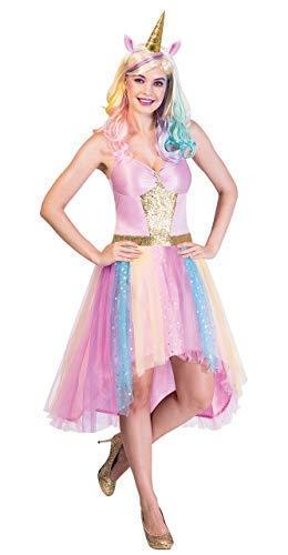 Damen Rosa Rainbow Pastell Funkelnd Magische Mythische Einhorn Karneval Festival Kostüm Kleid Outfit & Stirnband UK 8-16 Eu 36-44 - UK 8-10 (EU 36-38)