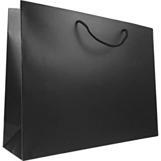 Pack of 10 x Matt black luxury paper gift bags with rope handles 42cm wide x 32cm high x 12cm base, A3 (Large)