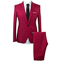 Traje Suit de 2 Piezas Manga Larga Blazers para Hombre Vino Rojo M
