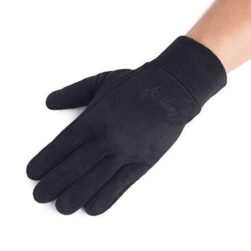 CJC Handschuhe Touch-Screen Damen Herren Winter Warm Weich Draussen Winddicht Fahren Dick (Farbe : SCHWARZ, größe : A2)