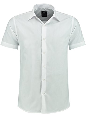 Jeel Herren-Hemd – Slim-Fit – Bügelleicht – Business, Hochzeit, Freizeit – Kurzarm-Hemd für Männer 205 Weiß XL