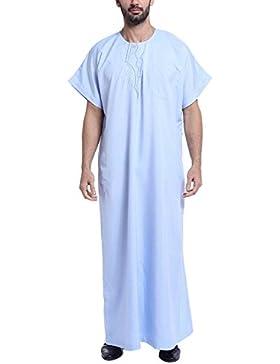 YCHENG Camisa Largo Bordado Camiseta Kurta Túnica para Hombre árabe Musulmán Thobe Manga Cortas